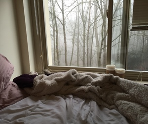 bed, cozy, and bedroom image