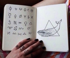 art, whale, and notebook image