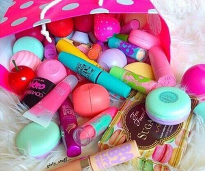 makeup, eos, and pink image