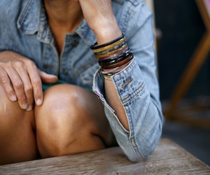 bracelets, girl, and denim image