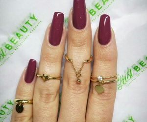 accessories, burgundy, and gold image