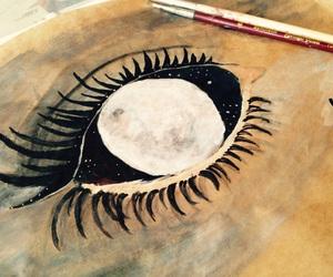 eye, moon, and universe image