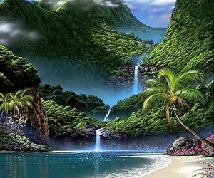nature, waterfall, and mountains image