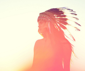 feathers, sunset, and native image