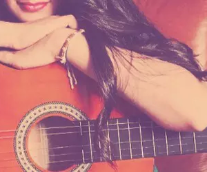 girl, guitar, and happy image