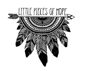 hope, black and white, and feather image