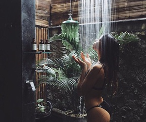 girl, shower, and tropical image