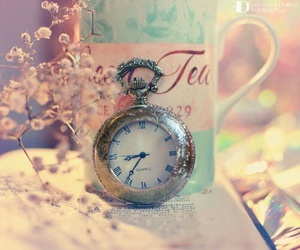 vintage, clock, and pink image