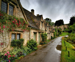 england, house, and flowers image