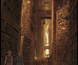 books, labyrinth, and library image