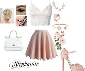 heels, outfit, and pink image