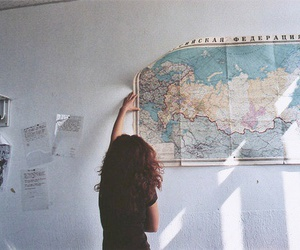 map, girl, and world image
