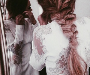 hair, braid, and dress image