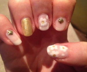flowers, gold, and nails image