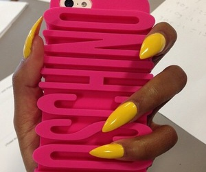 nails, iphone, and Moschino image