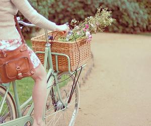 girl, flowers, and bike image