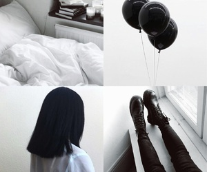 balloons, bed, and black and white image
