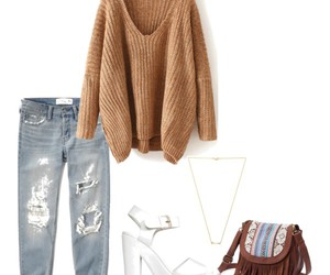beige, boyfriend jeans, and fashion image