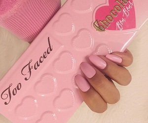 pink, makeup, and too faced image