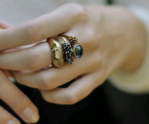 gold, rings, and green image