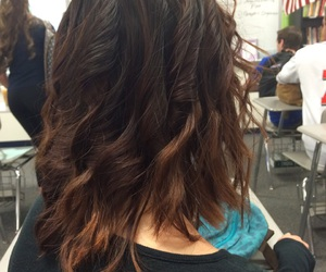 brunette, curls, and short hair image