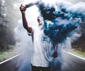 blue, boy, and smoke image