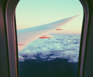 airplane, clouds, and pastels image