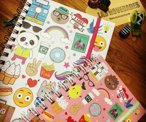 books, donuts, and emoticons image
