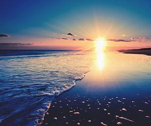 beach, sun, and sunset image