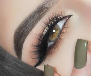 nails, makeup, and eyes image