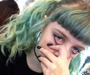 grunge, pale, and green hair image