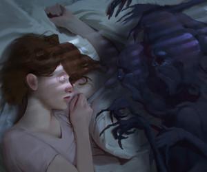 sleep, scary, and art image