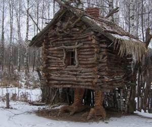 black cat, cabin, and rustic image