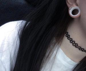 hair, piercing, and plug image
