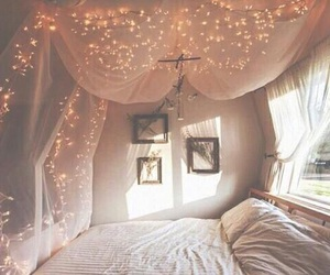fairy lights, interior, and pastel image