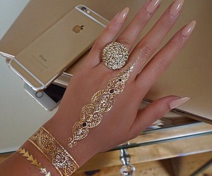 nails, gold, and iphone image