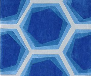 blue, geometric, and hexagons image