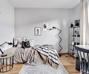 art, bedroom, and gray image