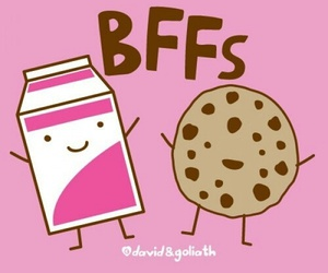 milk, bff, and cookie image