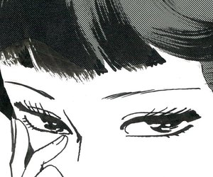 black and white, eyes, and manga image