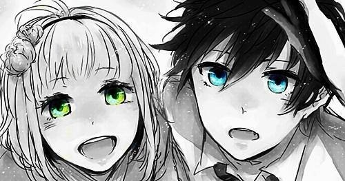 Anime Girl With Green Eyes And Anime Boy With Blue Eyes
