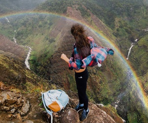 girl, adventure, and rainbow image