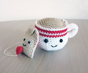 crochet, cup, and tea image