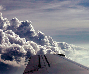 clouds, airplane, and sky image