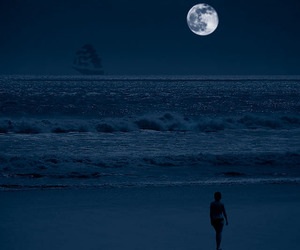 moon, ocean, and ship image