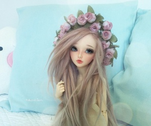 bjd, doll, and flowercrown image