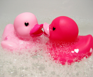 pink, duck, and heart image