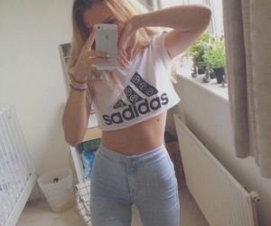 adidas, girl, and pale image
