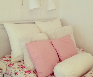 bed, room, and rosy image