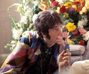 john lennon, the beatles, and flowers image